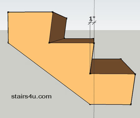 One Inch Stair Tread Undercut 3d Side View