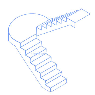 U Stairs With Curved Landing Des