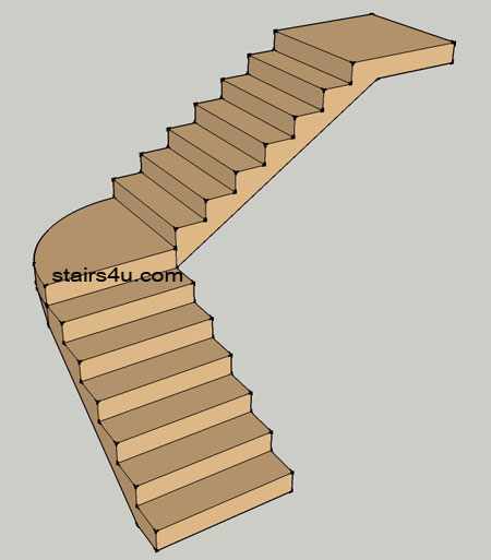 Stairs with curved landing design