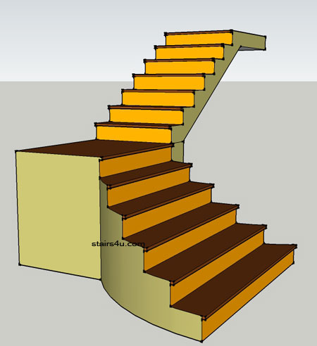 L Stairs With Curved Bottom Type And Design