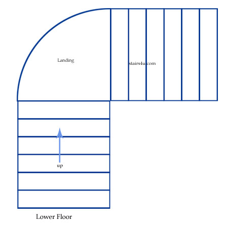 l stairs with curved landing design and type