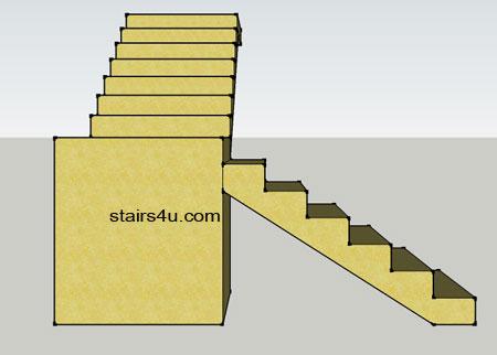 Left Side Elevation View Of L Design Stairway With Walls Under Platform