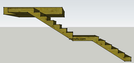Delightful Left Elevation Of Straight Stairs With Middle And Upper Landing Or Platform