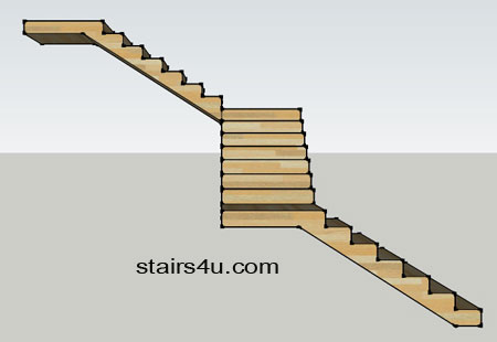 view from left side elevation of z design type staircase