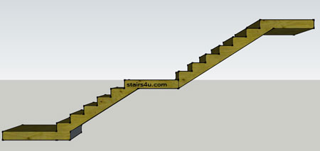how to build stairs with a landing in the middle