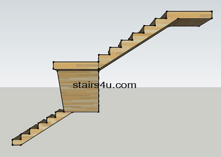right side elevation of z shaped stair design