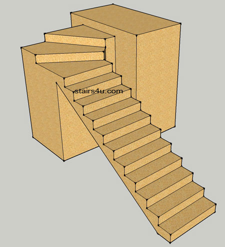 Strait stairs to top winders designs for Building winder stairs