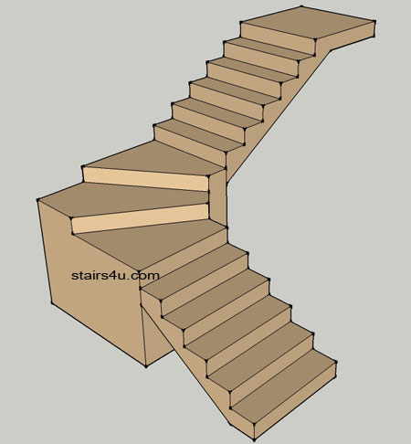 Winders pie stairs type and design for Building winder stairs