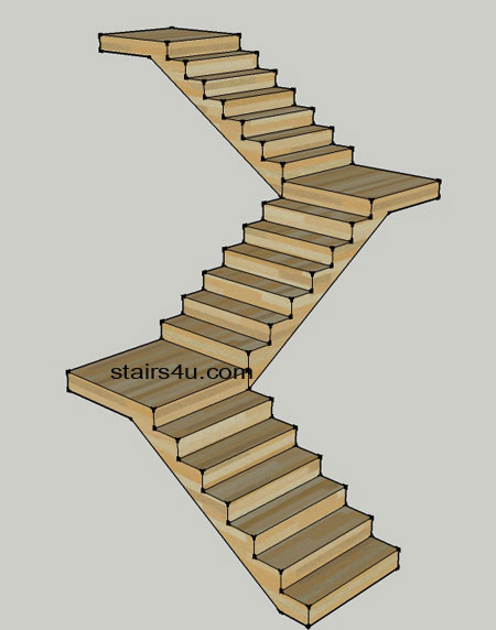 stair design shaped if looking above like the letter z