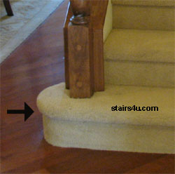 Bottom Of The Stairway Picture Below Provides You With An Excellent Example A Half Round Tread That Has Been Covered By Carpet And