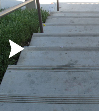Stair Tread Lines For The Blind. Concrete Stair Tread
