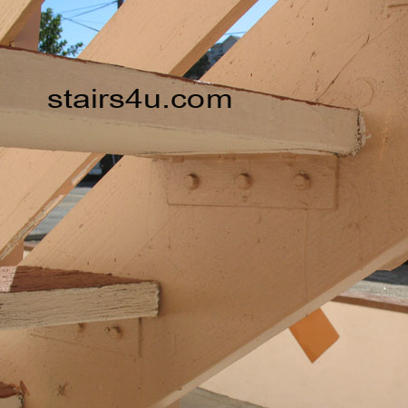 size metal tread bracket for wood stair steps and stringer stairs